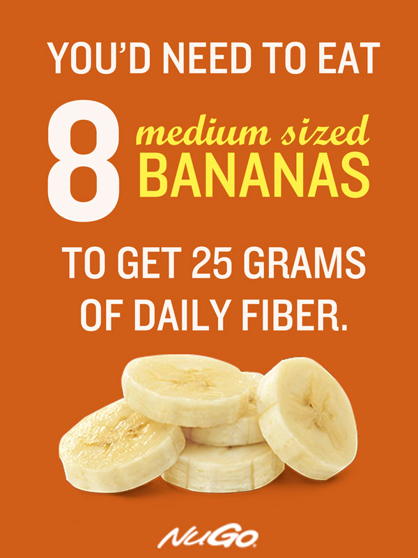 Medium banana: 3.1 grams fiber. Help reach your daily fiber intake goal with bananans