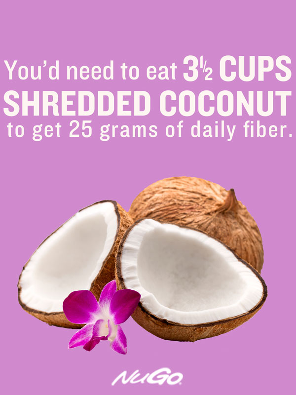 Shredded Coconut:7 grams fiber per cup